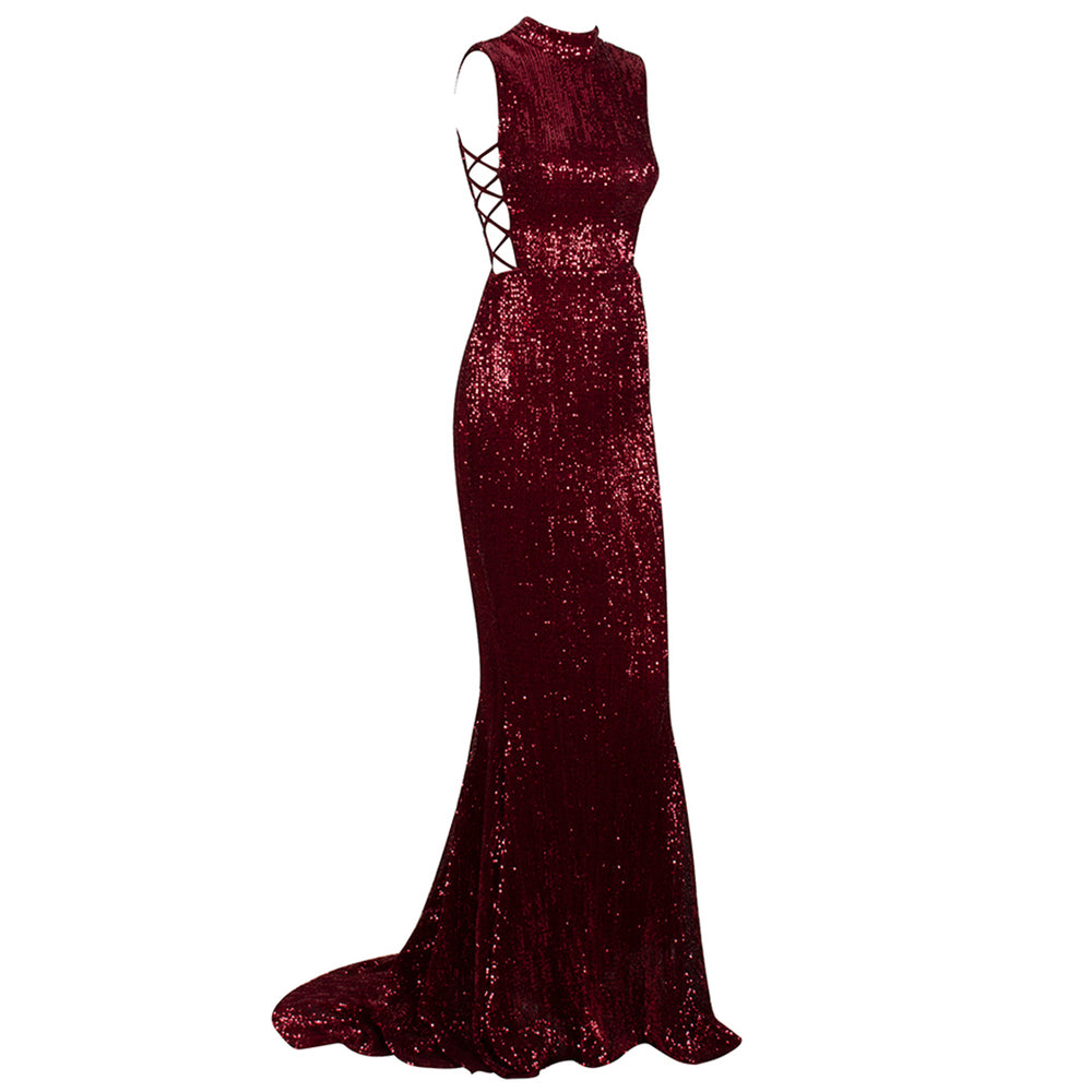 Desire High Neck Sequin Evening Gown - Deep Red *SPECIAL ORDER*