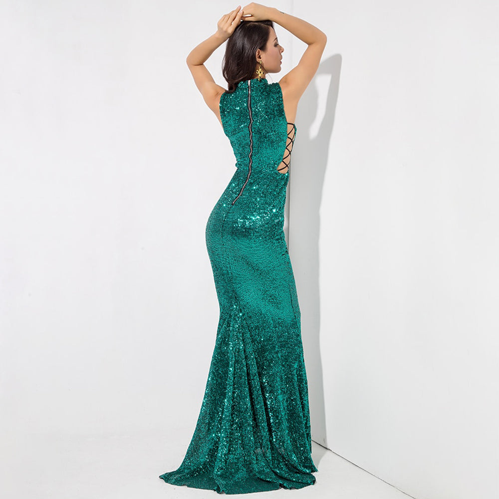 Desire High Neck Sequin Evening Gown - Emerald Green *SPECIAL ORDER*