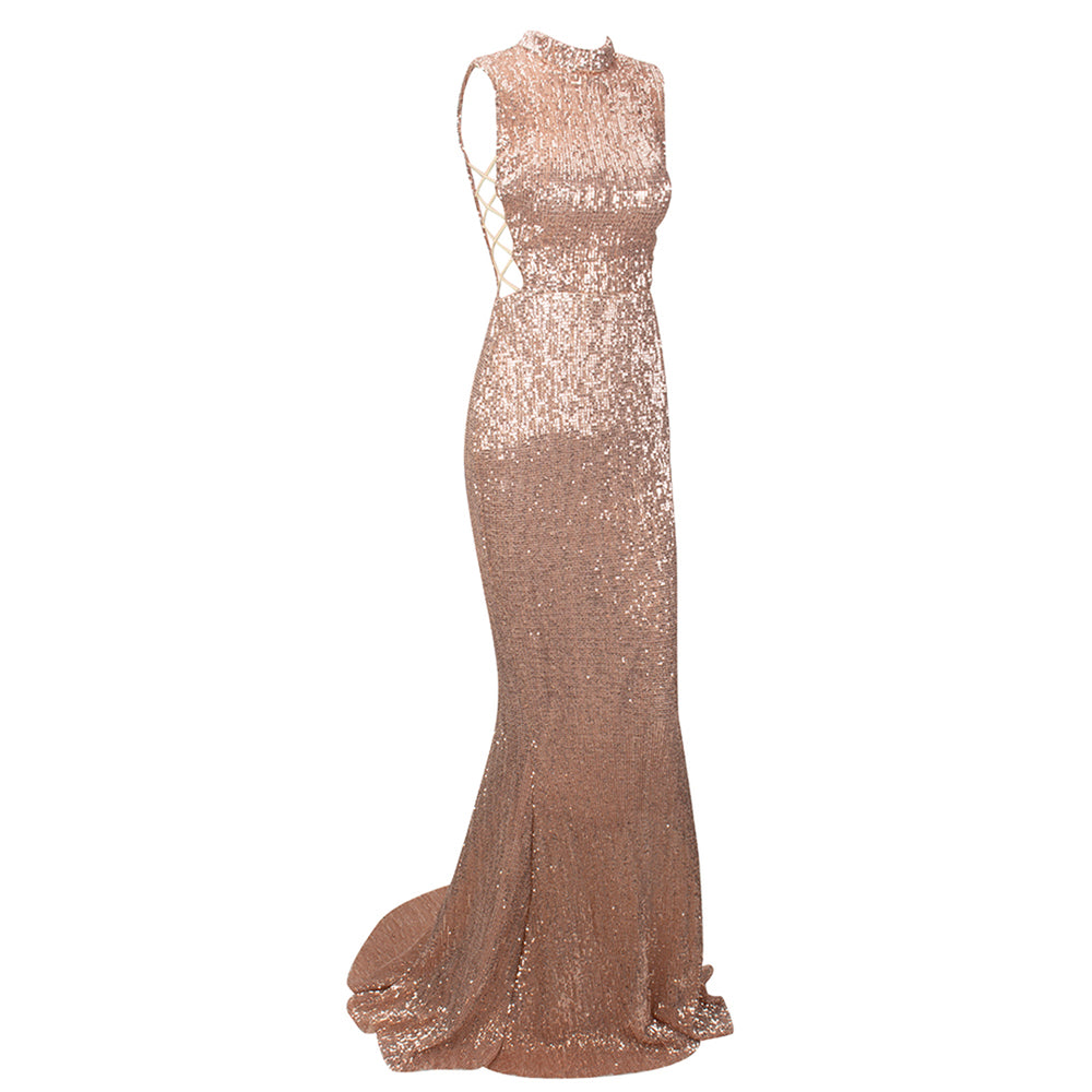 Desire High Neck Sequin Evening Gown - Champagne Gold