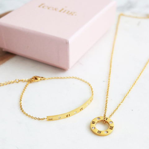 Ella Roman Numeral Necklace & Bracelet Set - Gold