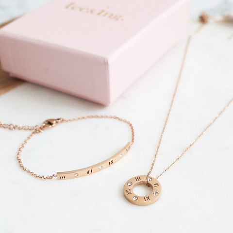 Ella Roman Numeral Necklace & Bracelet Set - Rose Gold