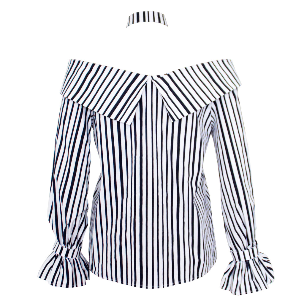 Elle off shoulder blouse top - Black & white stripes