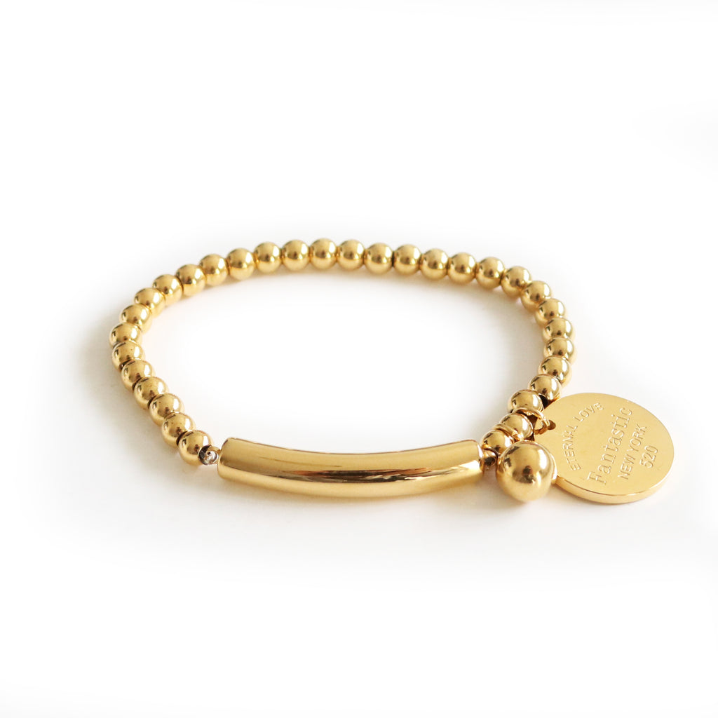 Eternal Love Bead Bracelet Gold