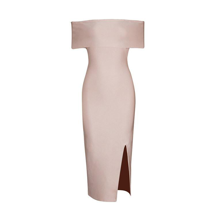 Grace Off Shoulder Bandage Dress - Pink