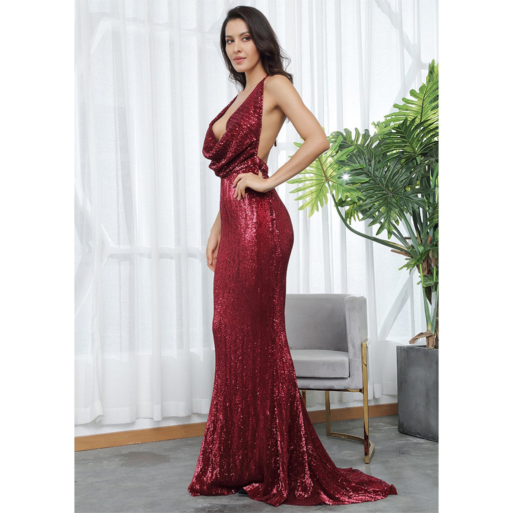 Hollywood Backless Cowl Neck Sequin Evening Gown - Deep Red *SPECIAL ORDER*