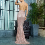 Hollywood Backless Cowl Neck Sequin Evening Gown - Gold *SPECIAL ORDER*