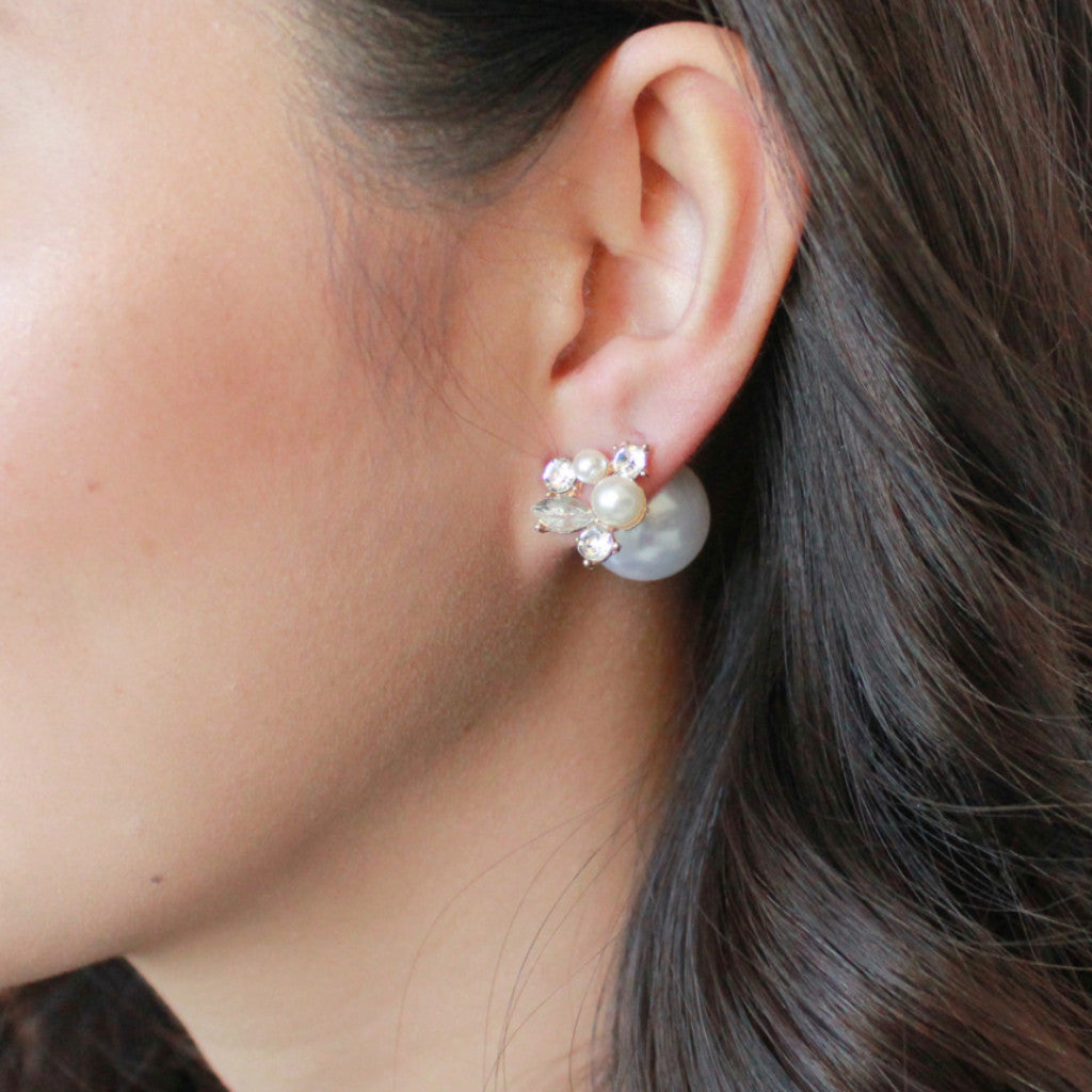 Diamond pearl earrings -  - 2