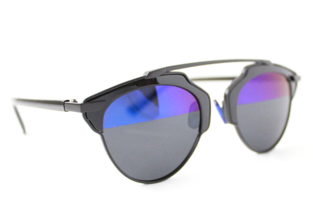Holly Sunglasses Black Half blue Mirrored - tee & ing. - 2