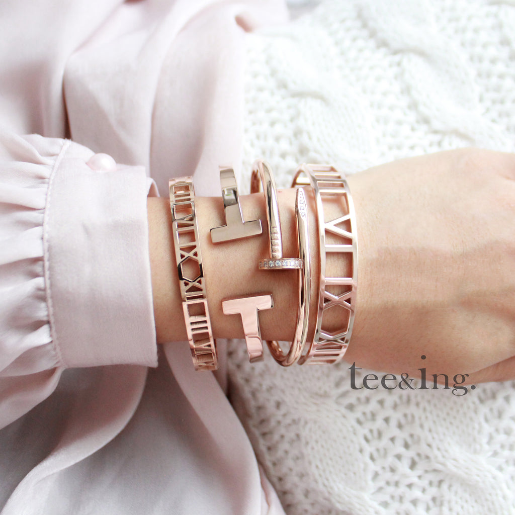 Crystal Thick Nail bangle Rose Gold