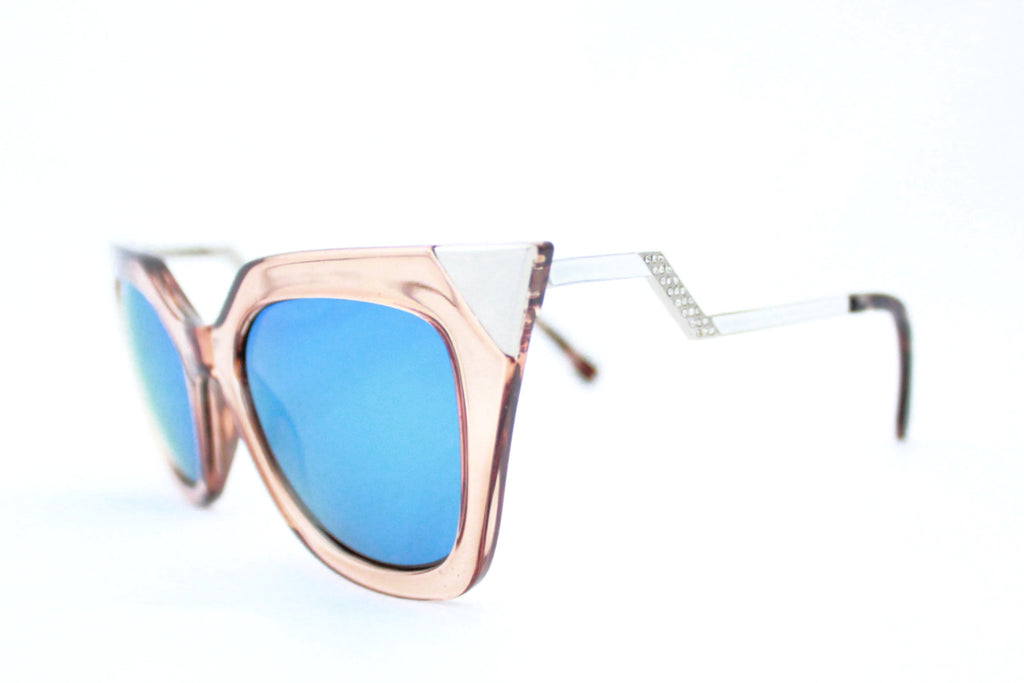 Ava sunglasses tan blue mirrored -  - 2