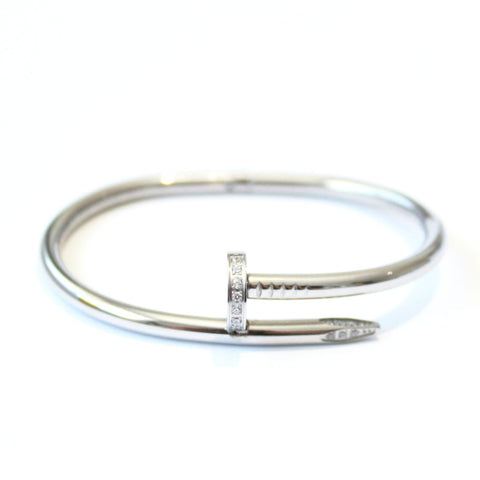 Crystal Thick Nail bangle Silver -  - 1