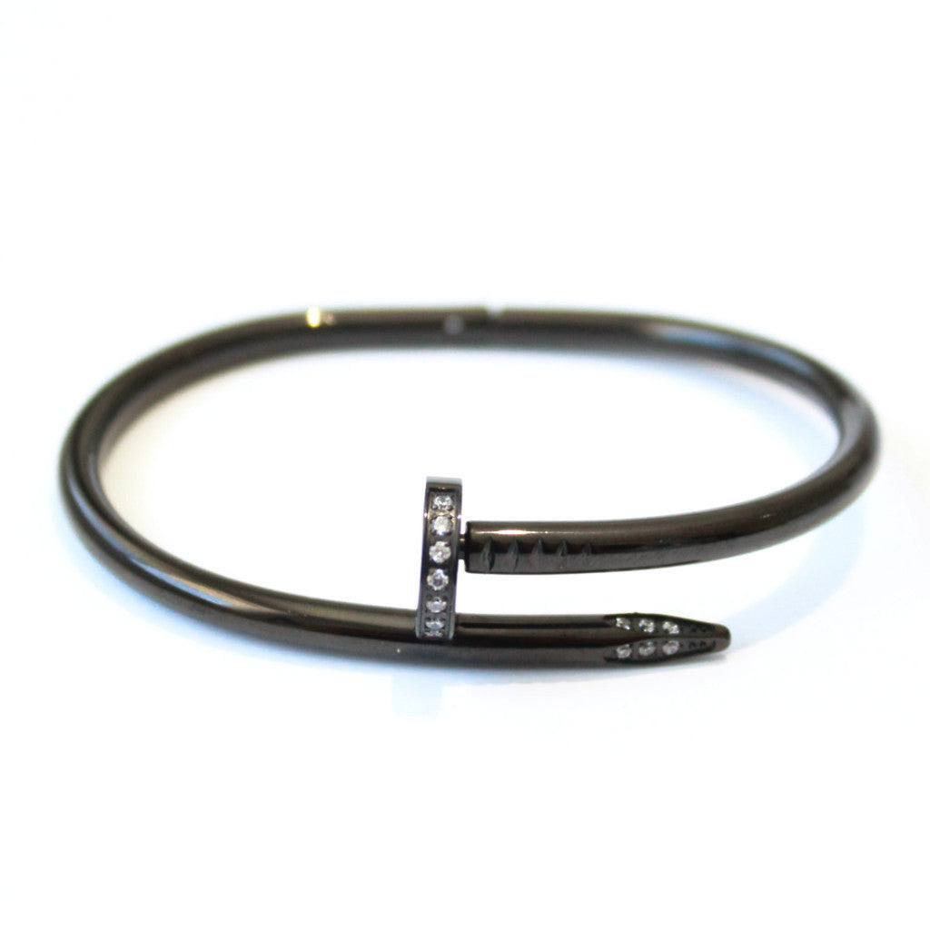 Crystal Thick Nail bangle Black -  - 1