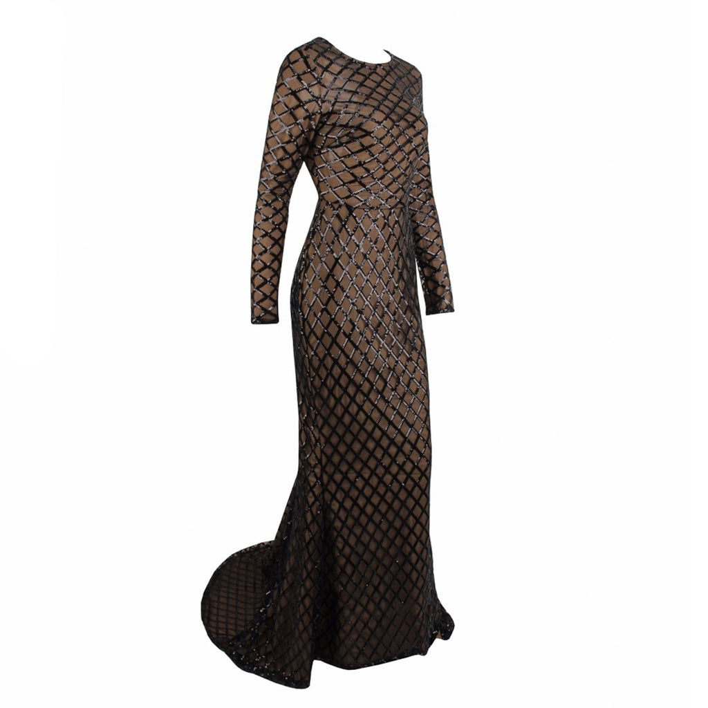 Illustrious Long Sleeve Evening Gown - Black *SPECIAL ORDER*