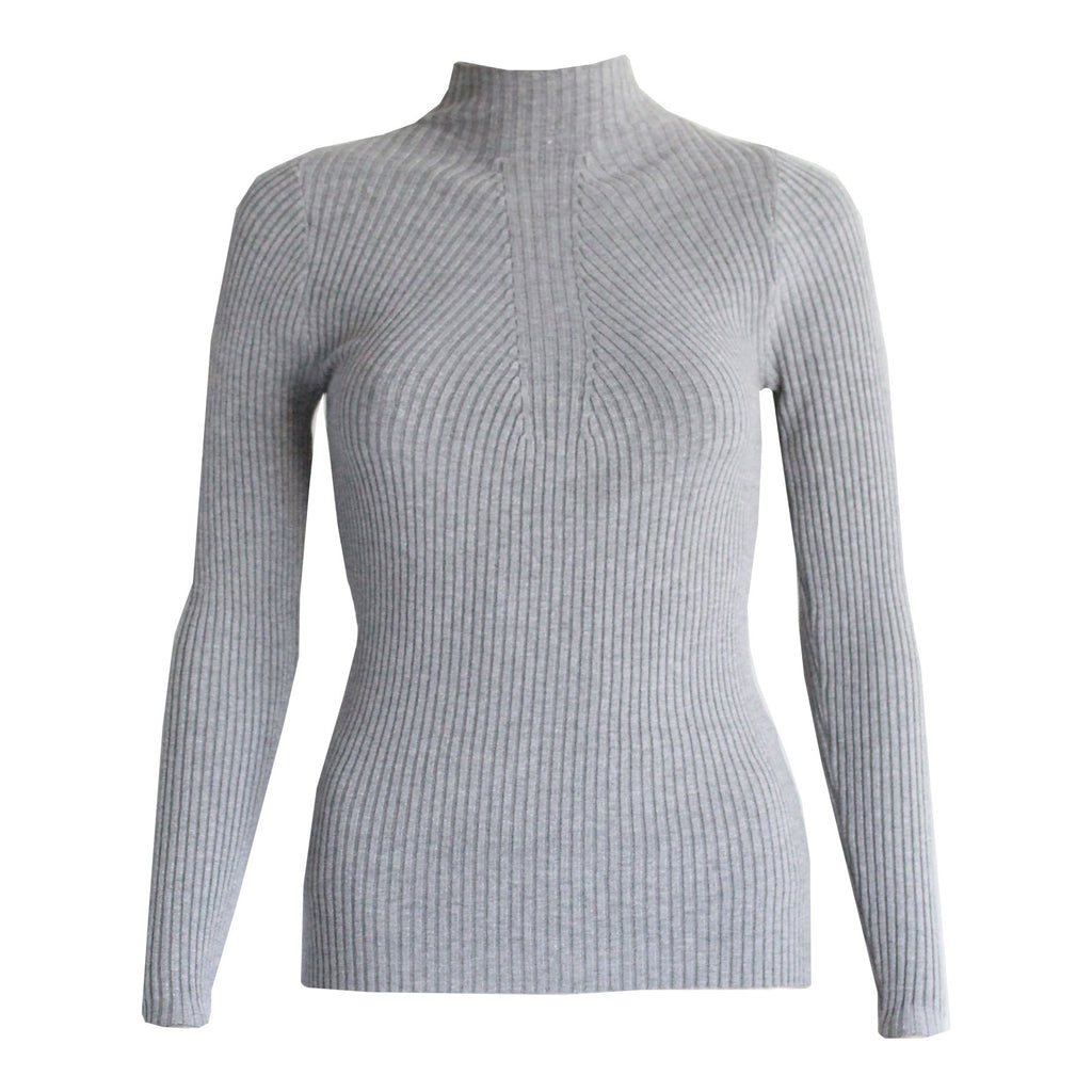 Savannah long sleeve knit top Grey