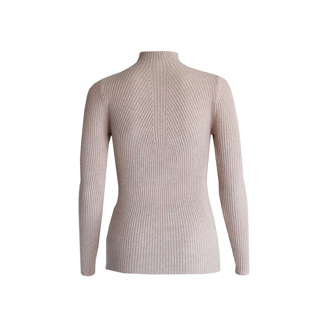 Savannah long sleeve knit top Beige