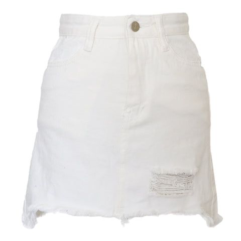 Melrose Denim Skirt White