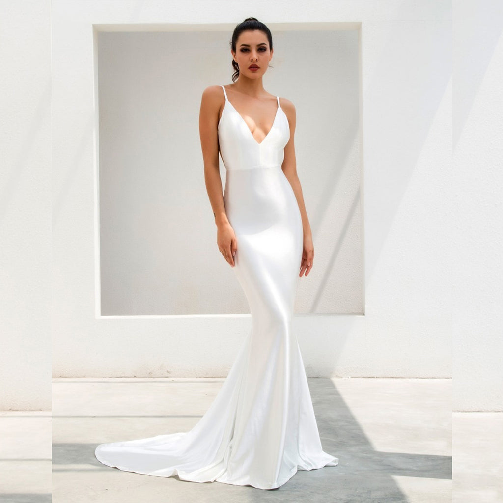Paramount Backless Evening Gown - White *SPECIAL ORDER*