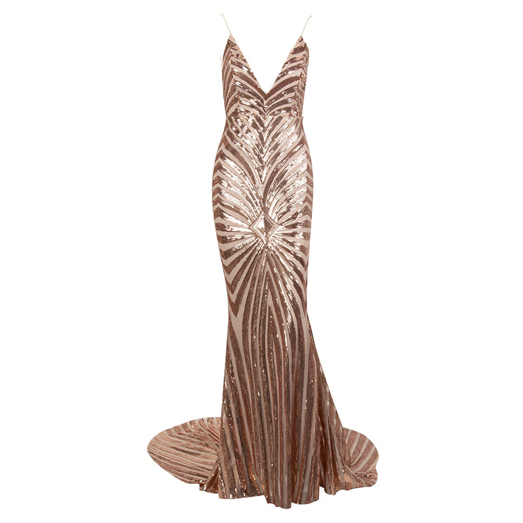 Unforgettable Backless Sequin Evening Gown - Gold *SPECIAL ORDER*