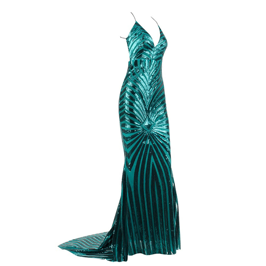 Unforgettable Backless Sequin Evening Gown - Emerald Green *SPECIAL ORDER*