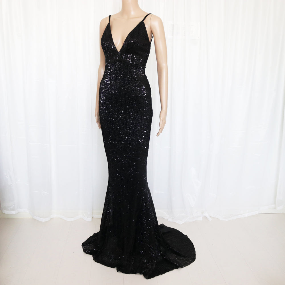 Vanity Fair Sequin Backless Evening Gown - Black *SPECIAL ORDER*