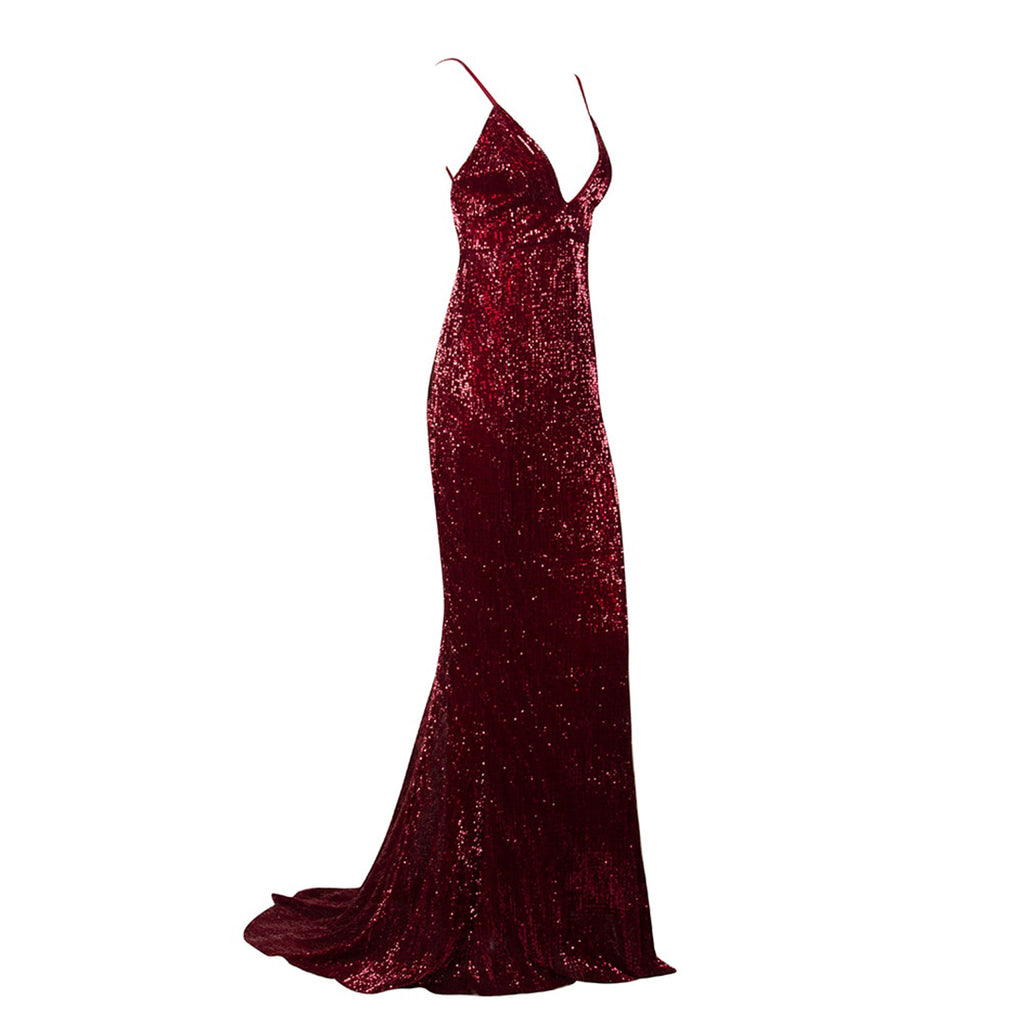 Vanity Fair Sequin Backless Evening Gown - Deep Red *SPECIAL ORDER*