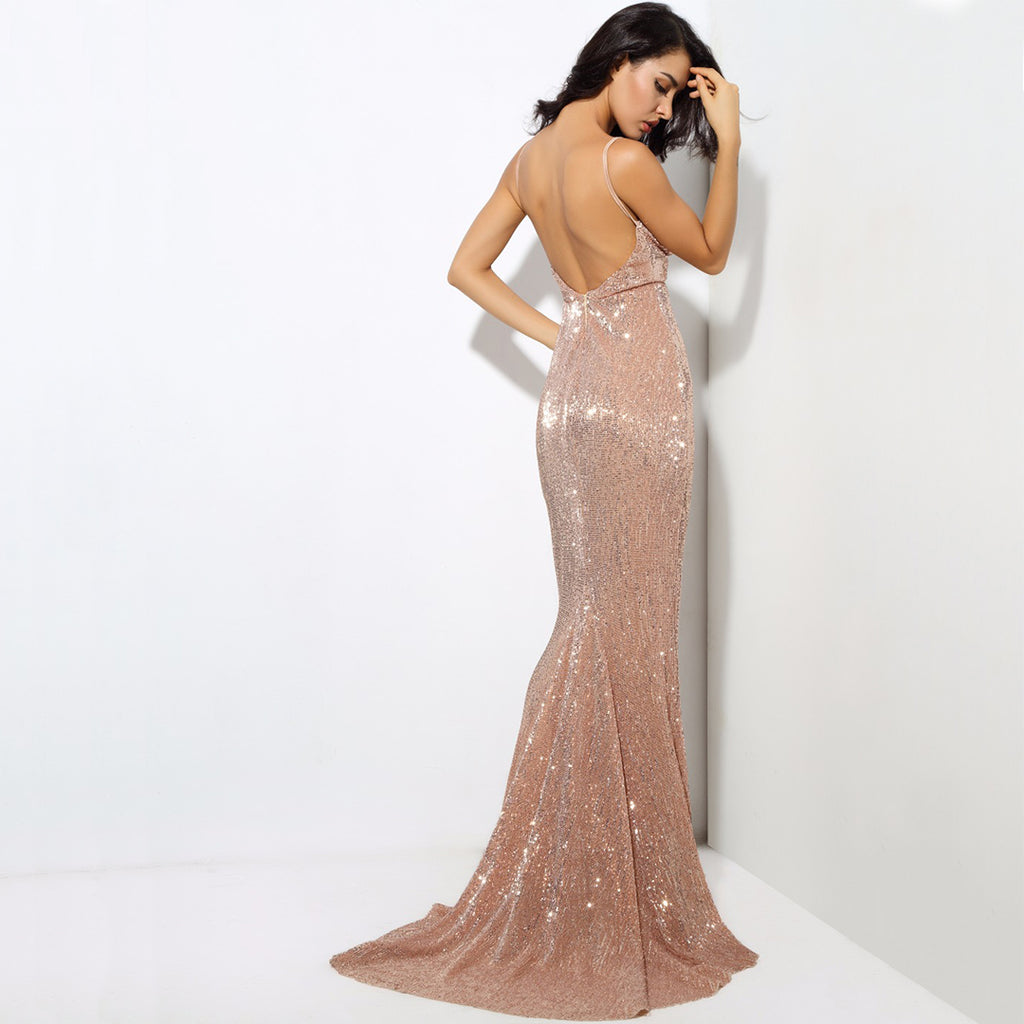 Vanity Fair Sequin Backless Evening Gown - Rose Gold *SPECIAL ORDER*