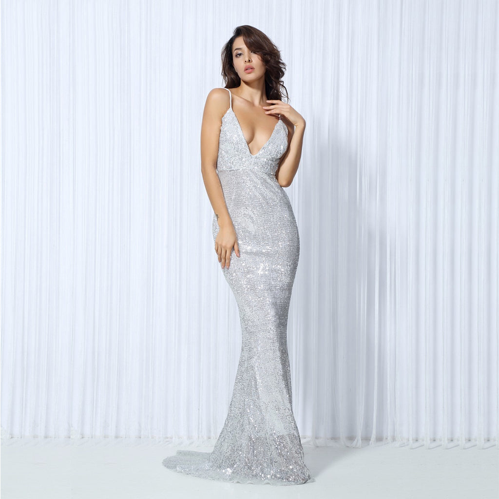 Vanity Fair Sequin Backless Evening Gown - Silver *SPECIAL ORDER*