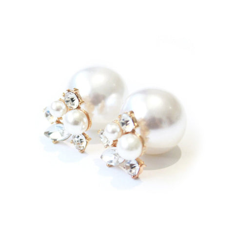 Diamond pearl earrings -  - 1