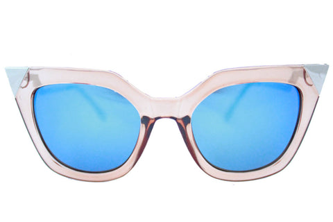 Ava sunglasses tan blue mirrored -  - 1