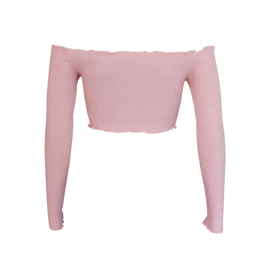Halo off-shoulder crop top - Blush Pink