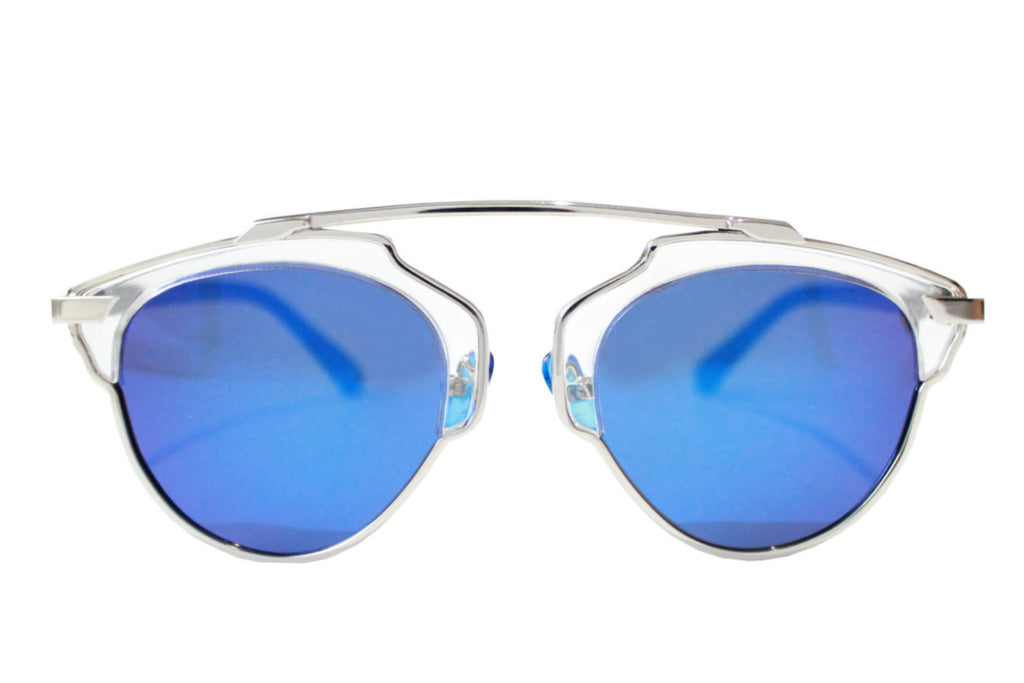 Holly Sunglasses Silver/Blue - tee & ing.