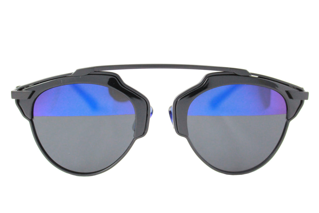 Holly Sunglasses Black Half blue Mirrored - tee & ing. - 1