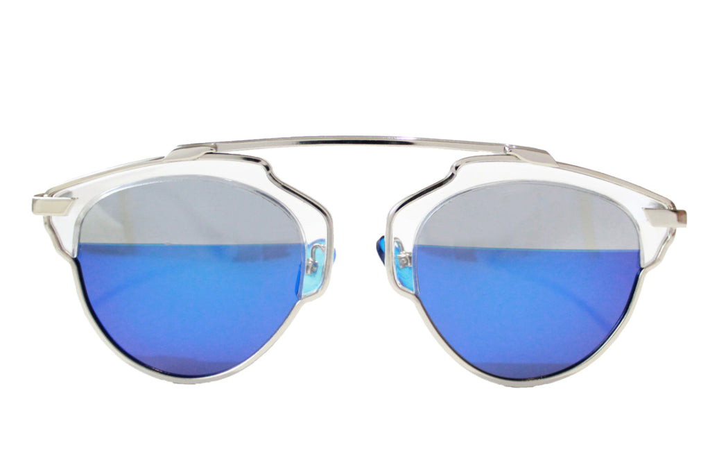 Holly Sunglasses Silver Half Blue - tee & ing.