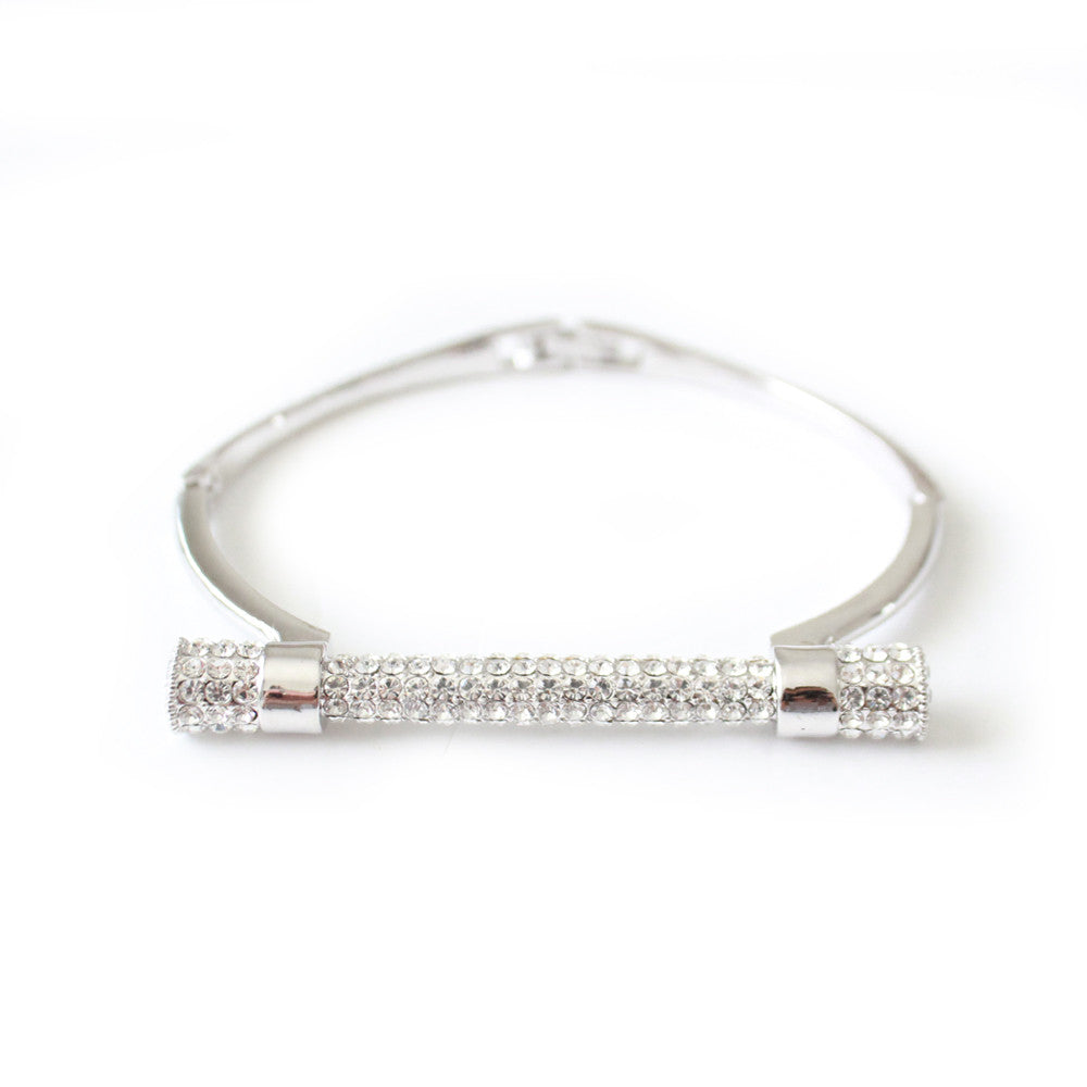 Kiki Bangle Crystal Silver