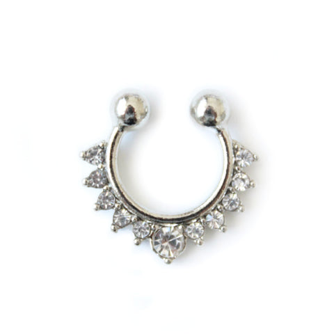 Lily faux septum nose ring silver - tee & ing.