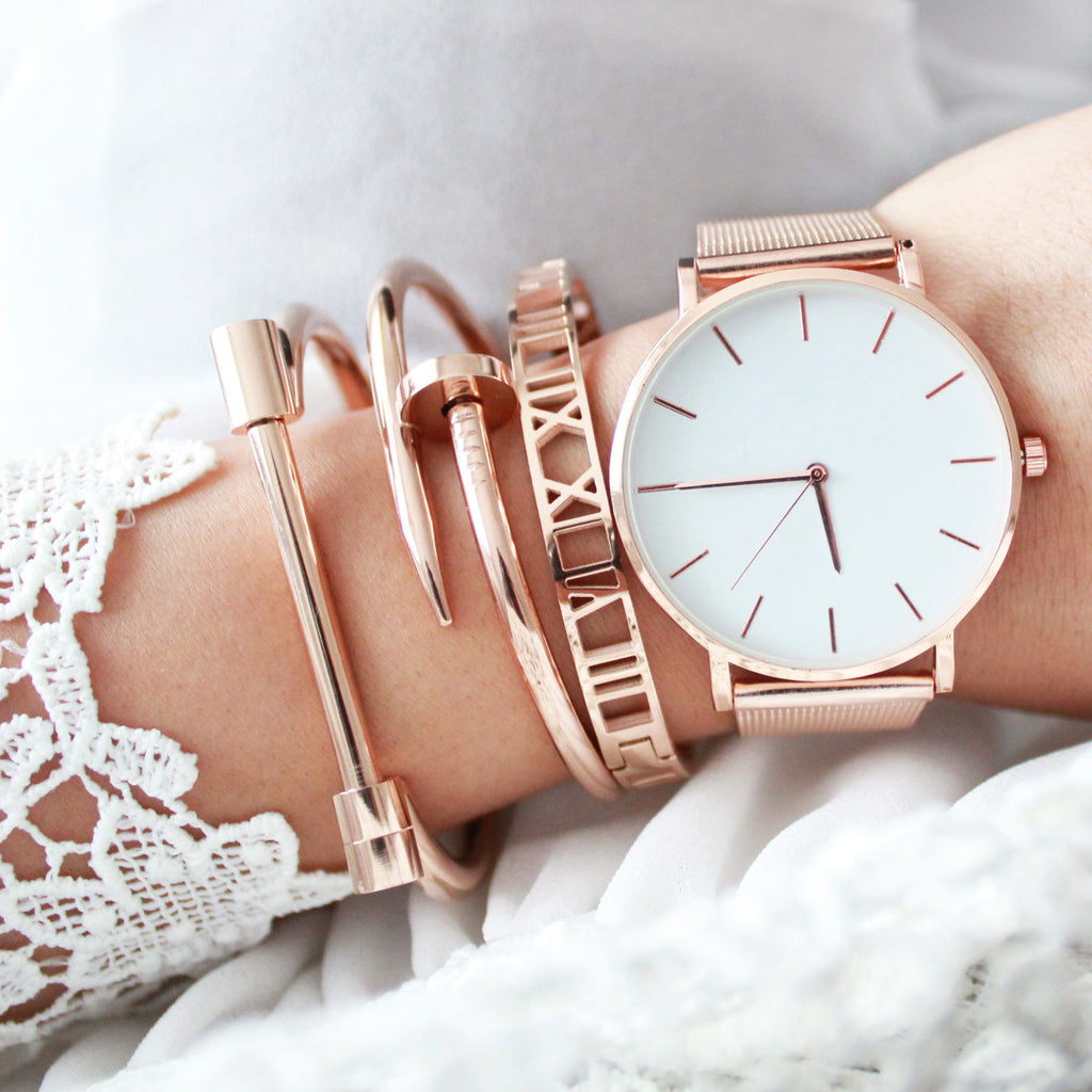 Bella Rose Gold Mesh Watch