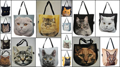 Tote bags with 3D faces of cats and kittens