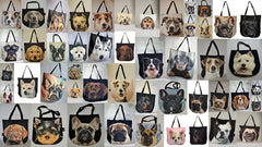 Tote bags with 3D faces of dogs and puppies