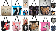 Tote bags with 3D faces of farm and wild animals