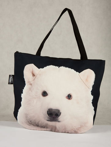 Animal Tote Bag with 3D Face of Polar Bear #015