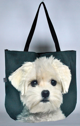 Animal Tote Bag with 3D Face of Maltese #028