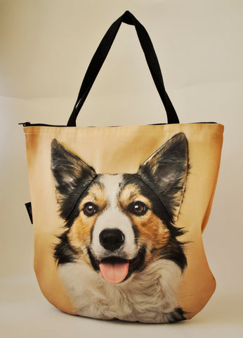 Animal Tote Bag with 3D Face of Border Collie v.1 #048