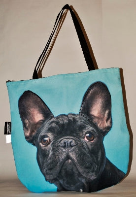 Animal Tote Bag with 3D Face of French Bulldog Black v.2 #062