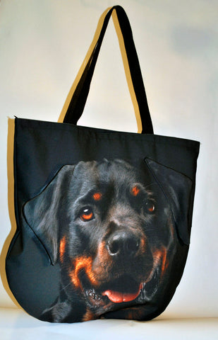 Animal Tote Bag with 3D Face of Rottweiler #077