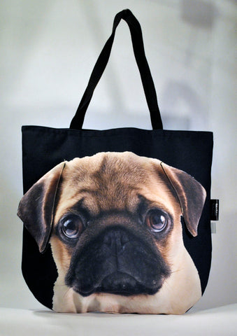Animal Tote Bag with 3D Face of Pug #094