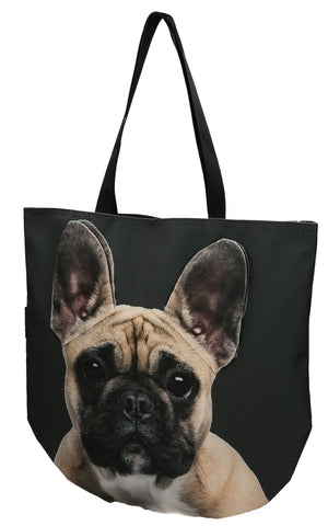 Animal Tote Bag with 3D Face of French Bulldog Beige v.2 #147