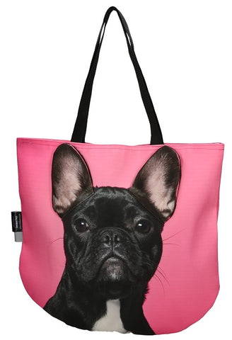 Animal Tote Bag with 3D Face of French Bulldog Black v.3 #150
