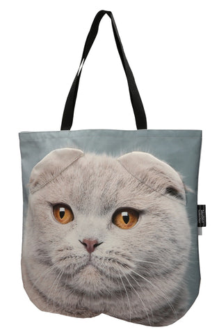 Animal Tote Bag with 3D Face of Scottish Fold Cat #159