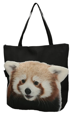 Animal Tote Bag with 3D Face of Red Panda #165
