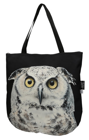 Animal Tote Bag with 3D Face of Owl #168